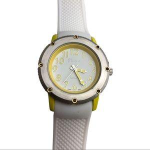 Geneva Platinum White & Yellow Silicon Band Watch